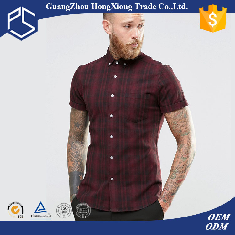 Guangzhou factory custom mens hemp and cotton vertical short sleeve turtle button red latest shirt designs for men 2016
