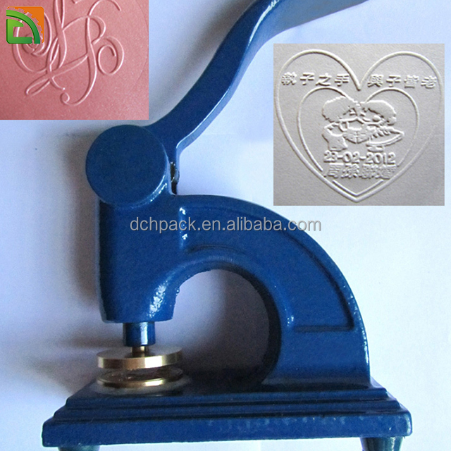 portable steel handheld embossed company stamp for card letter imprint