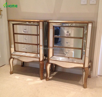 Pair Of Large Venetian Mirrored Gold Modern 3 Drawer Bedside Table Cabinet