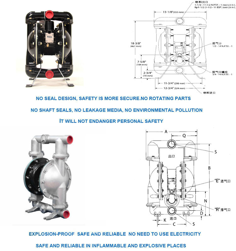 food grade pneumatic diaphragm air operated portable diaphragm pump