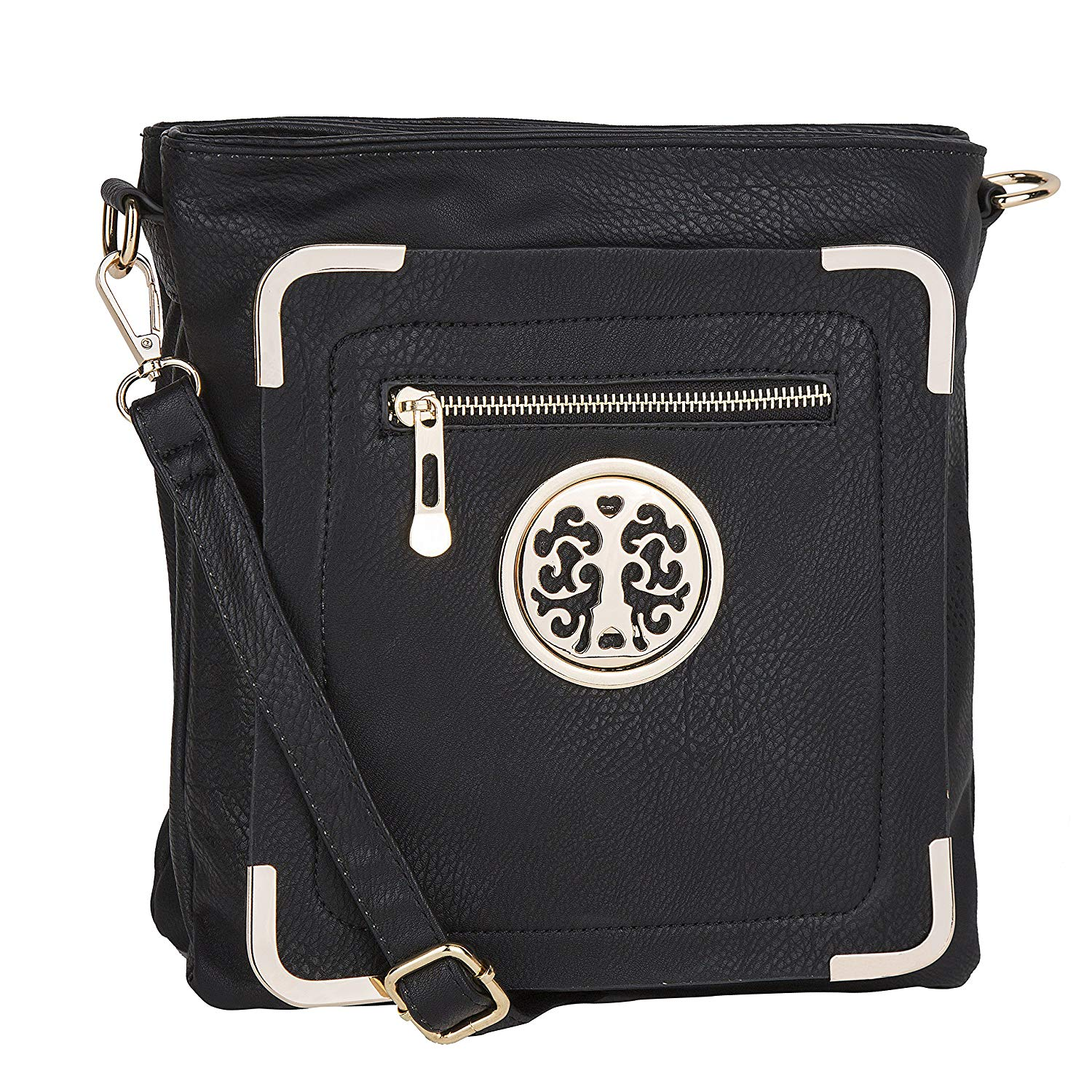 Crossbody Bag ~ Crossbody Purse ~ Multiple Pocket Crossbody Bag ~ Crossbody Purse with Adjustable Shoulder Strap ~ Crossbody Bag for Woman ~ Zip-top Closure Crossbody Purse ~ ViCtoRia'S~FaShiOn Crossbody Bag By MKF Collection (Black)