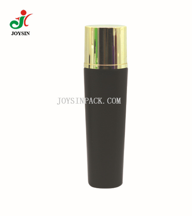 250 ml Lotion Cylinder Round Packaging Container Flat Shoulder Bottle with Shiny Metallic Aluminum Gold Cap