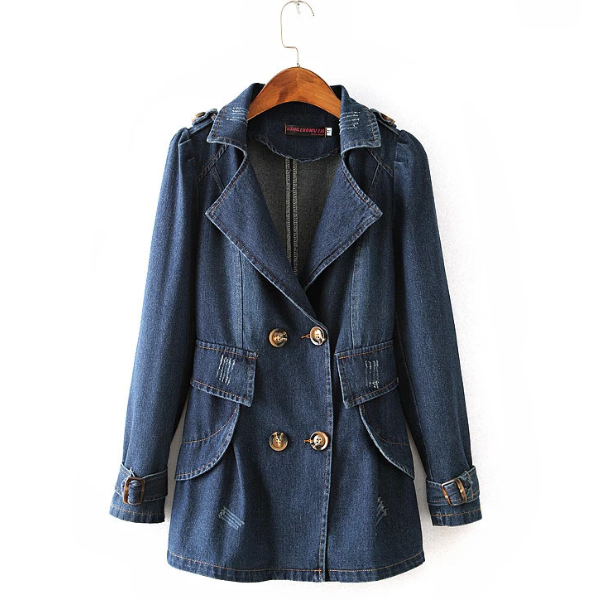 MS71362L Wholesale women trench coat Slim fit double breast long denim coat for women