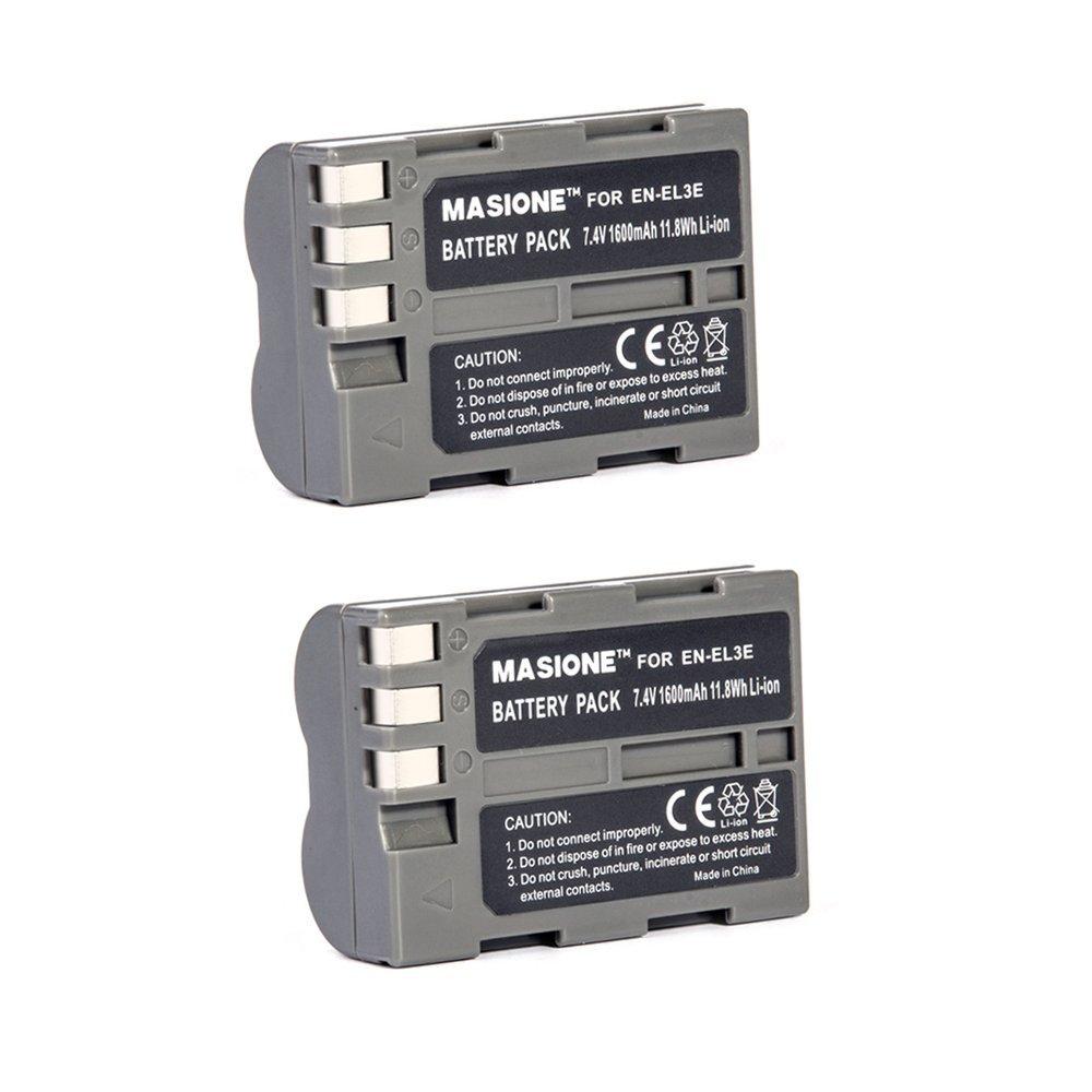 2x Masione 7.4V 1600mAh Rechargeable EN-EL3E Battery Pack for Nikon D80 D90 D50 D70 D70s D100 D200 D300 D300S D700