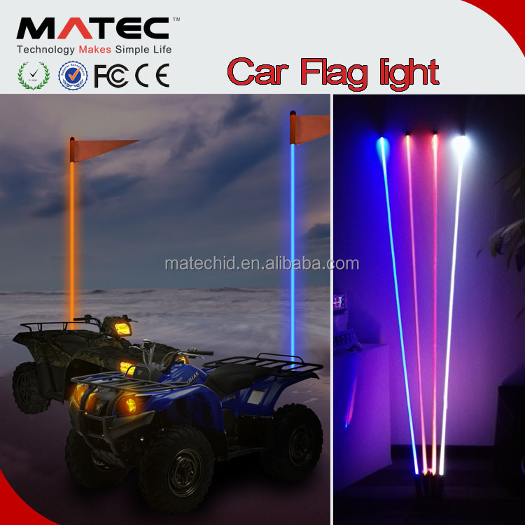 Top Selling Quick Disconnect Safety Waterproof Flexible 4ft 5ft 6ft RGB America LED Antena Flag LED Pole Lights For Jeep ,Buggy