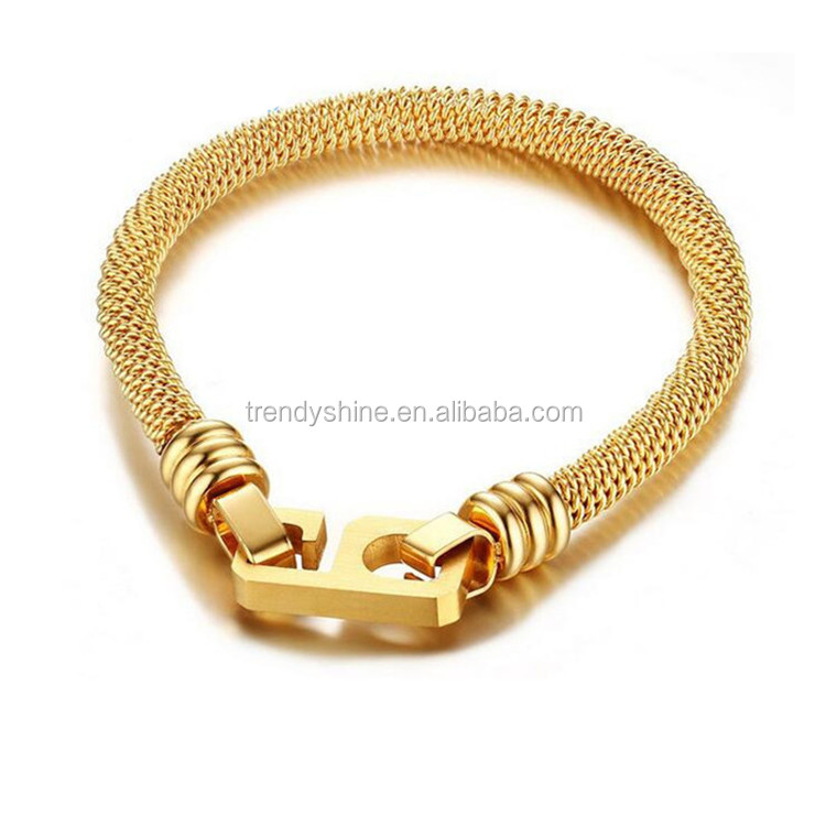 2016 new custom 9 number gold mesh stainless bracelet