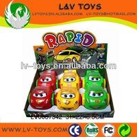 Cartoon free wheel car plastic candy toys with candy (6pcs/box,3 colors)