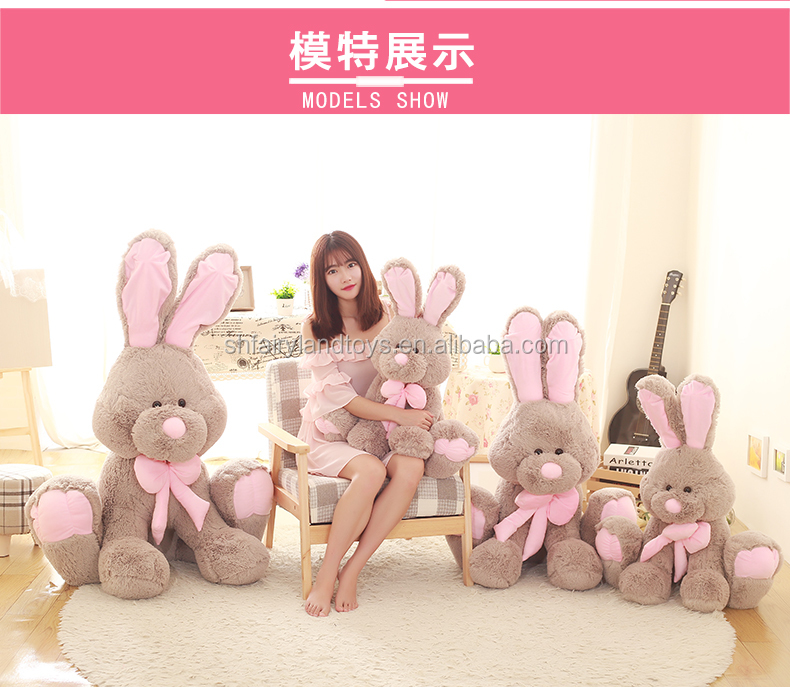 High quality plush toy cute grey <strong>rabbit</strong> with necktie