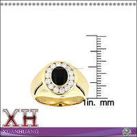 14K Yellow Gold Men's Ring Oval-Cut Black Onyx Genuine Man Ring