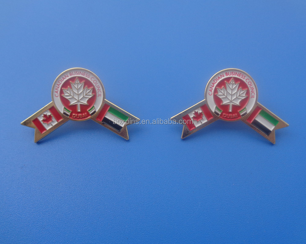 Canada and UAE country friendship metal collar pin brooch
