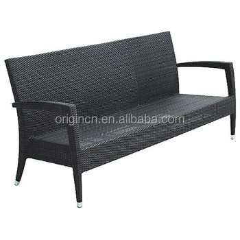Salon Restaurant Waiting Wicker Rattan Bench Furniture Outdoor 3