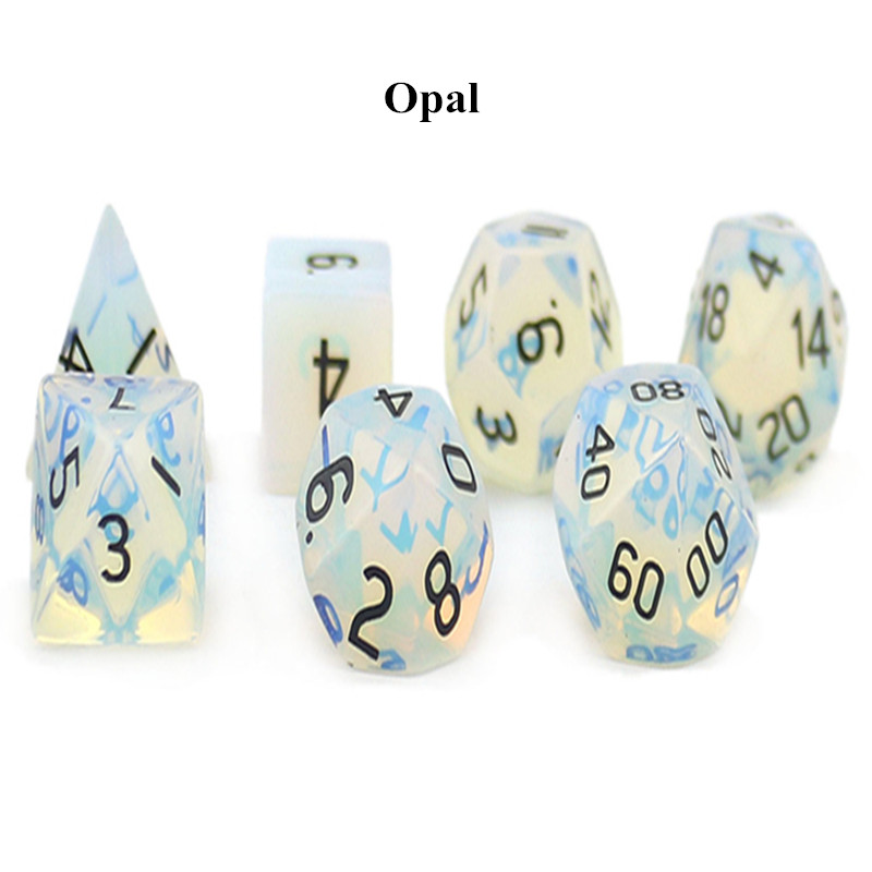 ENGRAVED Opal Dungeons Dragons DND RPG 7 piece PRG gemstone dice set