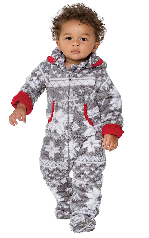 Get Quotations · PajamaGram Hoodie-Footie Nordic Fleece Onesie Pajamas 65bc583c6