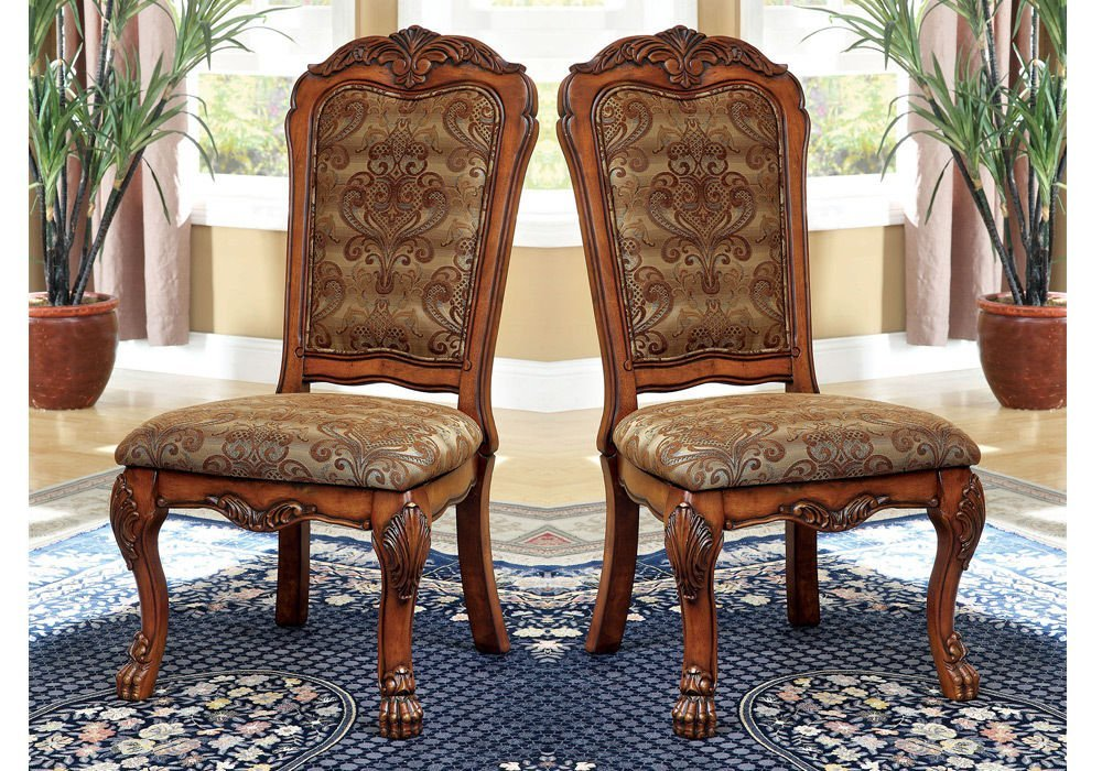 1PerfectChoice Medieve 2 pcs Formal Dining Side Chairs Fabric Floral Pattern Antique Oak Wood