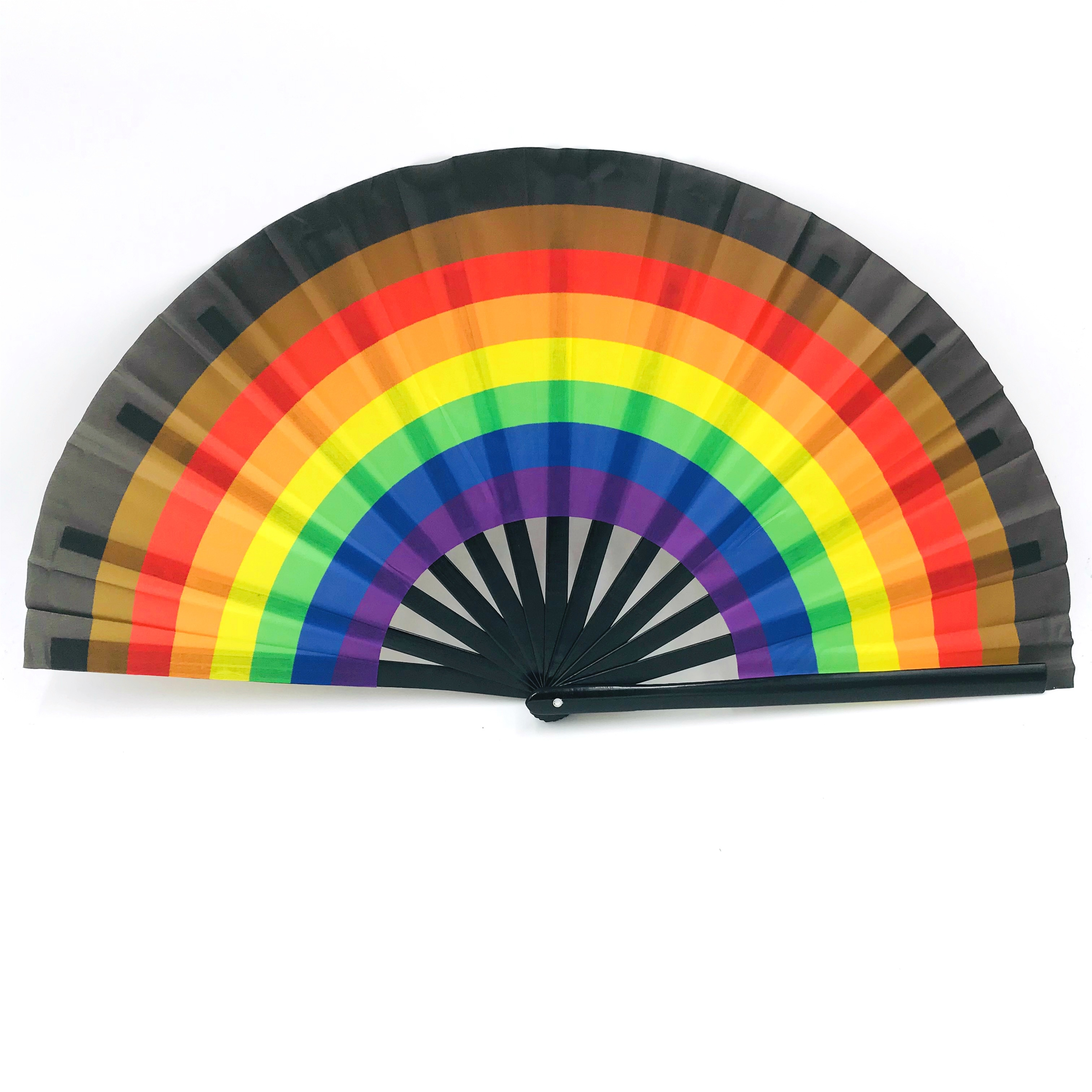 Rainbow Large Folding Hand Rave Fan for Women/Men, Chinease/Japanese <strong>Bamboo</strong> and Oxford Cloth Folding Hand Fan
