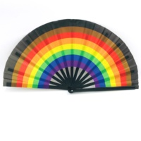 Rainbow Large Folding Hand Rave Fan for Women/Men, Chinese/Japanese Bamboo and Oxford Cloth Folding Hand Fan