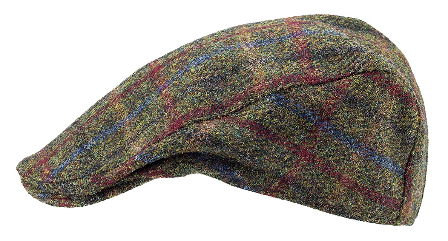 Authentic Harris Tweed, made in Scotland. The Arbroath 'Brad Pitt' Style Flat Cap, made by Hanna Hats