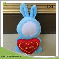 3D-51 Hold Heart Blue Rabbit Stuffed Plush Human Doll Toys 3D Photo Face Dolls