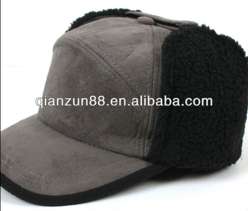 Winter Velour Baseball Cap with Ear Flaps