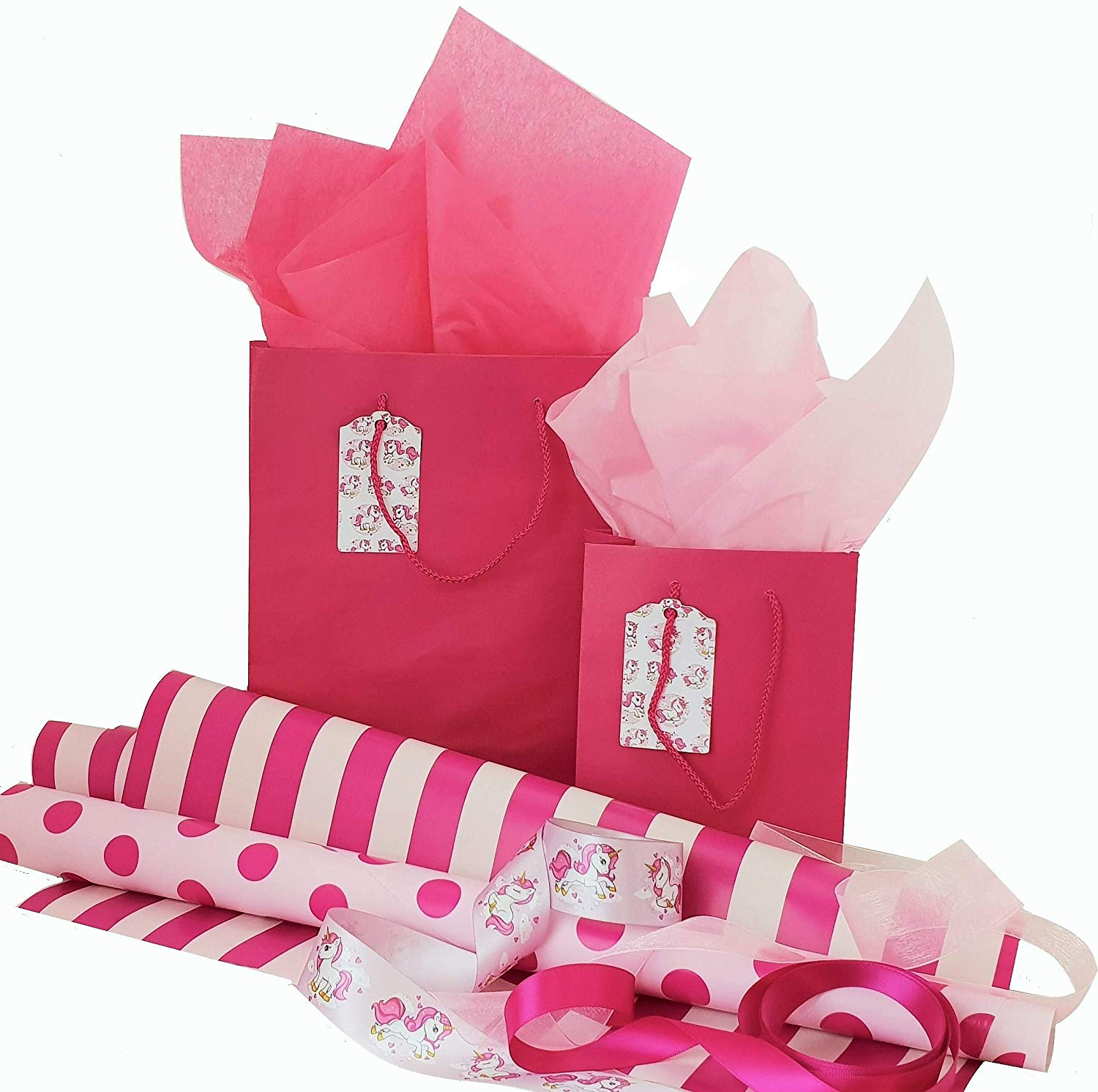 Exclusive Trend Setting Gift Wrapping Set - Pink Unicorn's Complete Gift Wrap Set with 2 Gift Bags w/Tags, Ribbons, Wrapping Paper and Tissue Paper, All Occasions (Pink)