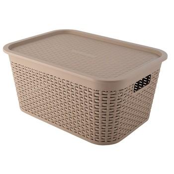 Pp Oem Livingroom Storage Wicker Baskets With Plastic Liner Lid