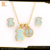 animal cute bear gold plated stainless steel jewelry set for gifts