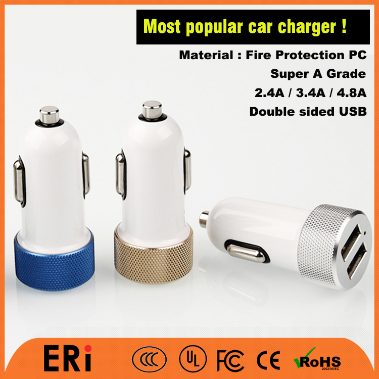 Hot sale mini circle round double sided usb car charger for cell phones with fire proteciton pc material