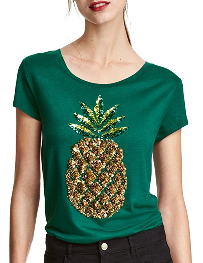 womens sequin embroidery pineapple print short sleeve 95 polyester 5 spandex reversible sequin. Black Bedroom Furniture Sets. Home Design Ideas