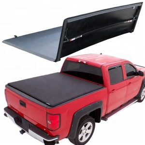 "PVC Folding Lock Vinyl Soft Truck Bed Cover Tri-Fold Tonneau Cover for Silverado Sierra 1500 2500HD 3500HD 6'6"" short Bed"