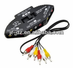 AV Audio Video RCA 3 Way Switcher Splitter+Cable