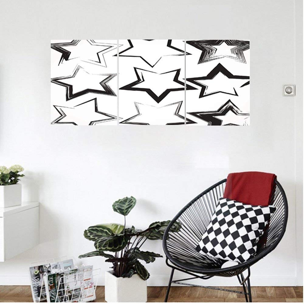 Liguo88 Custom canvas Grunge Home Decor Set Of Grunge Star Brush Strokes With Different Borders And Angles Artisan Print Bedroom Living Room Decor Black White