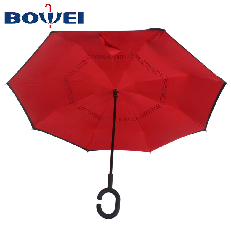 Promotional rainproof pongee inverted umbrella with C handle