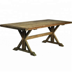 French Style Vintage Solid Pine Wood Folding Farm Dining Table