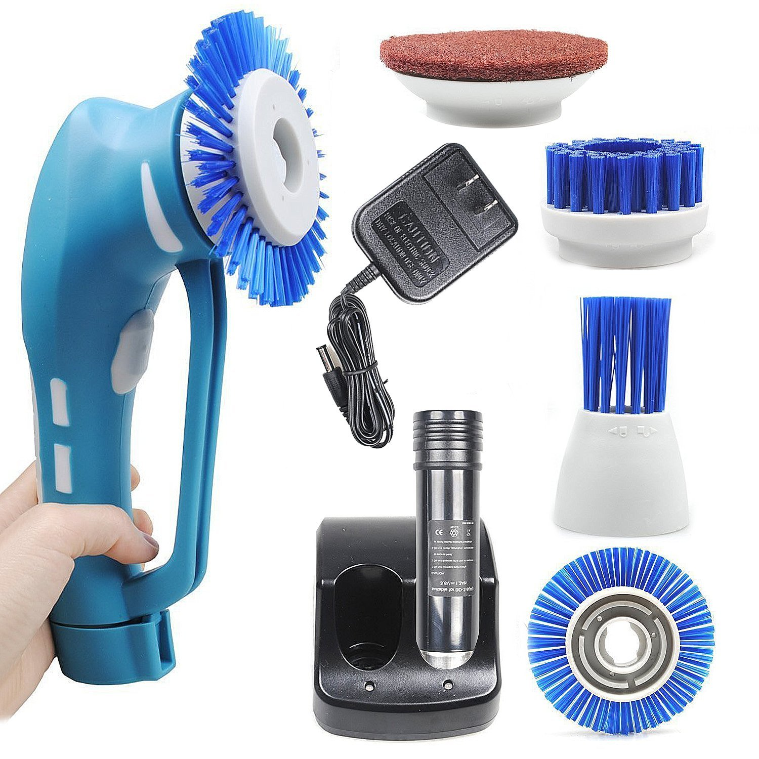Spin Scrubber, Cordless Household Power Scrubber with Rechargeable Battery for Bathroom and Kitchen 1 Battery 4 Brushes 1 Scouring Pad