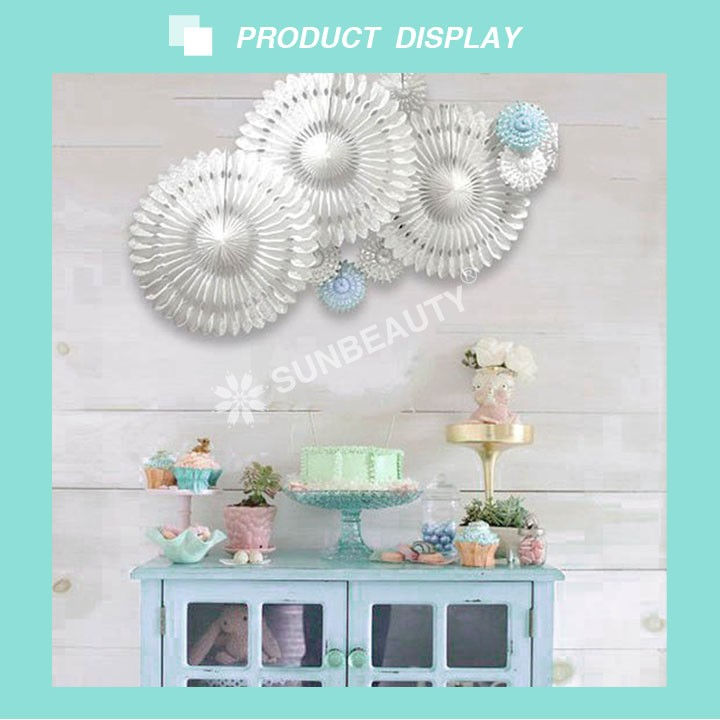 2017 Wholesale Sunbeauty Hollow Cut-out Round Tissue Paper Fans Folding Fans for Wedding Hanging Backdrops Decor