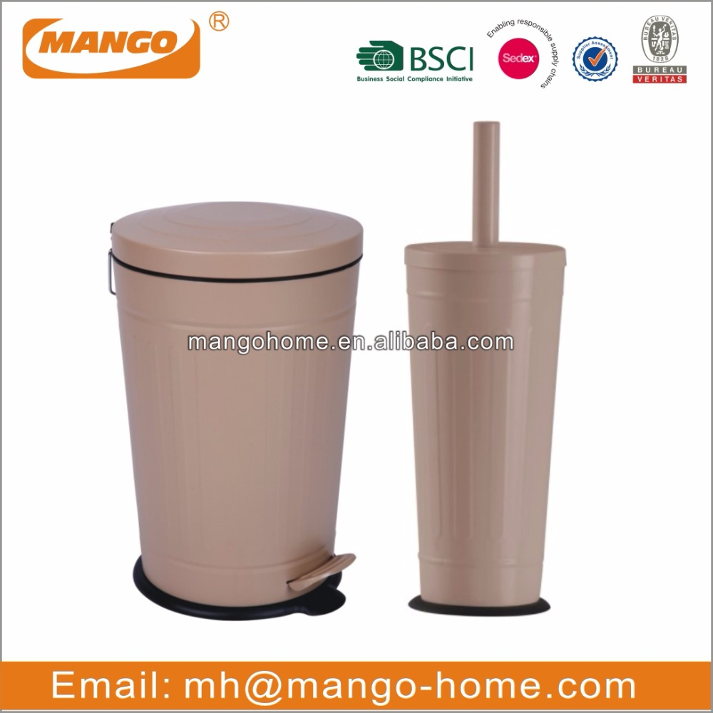 Ribs Cone Metal Trash Can and Toilet Brush Holder