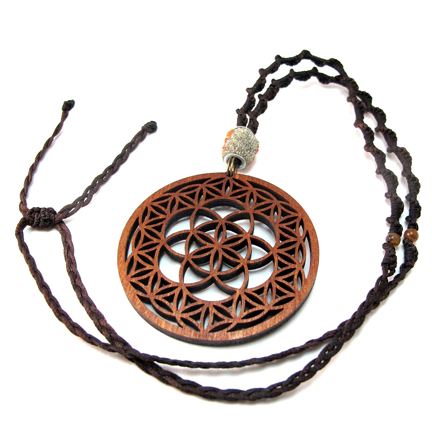 Long Macrame Pendant Necklace Seed of Life in Flower of Life, 15'' - 30'', Sacred Geometry jewelry