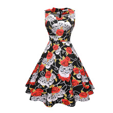 2018 Fashion Women Summer Floral Digital Sublimation Print Dress