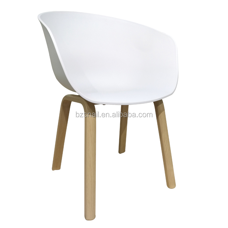 newly design plastic seat steel tube with wood grain transfer printing pp plastic chair shell