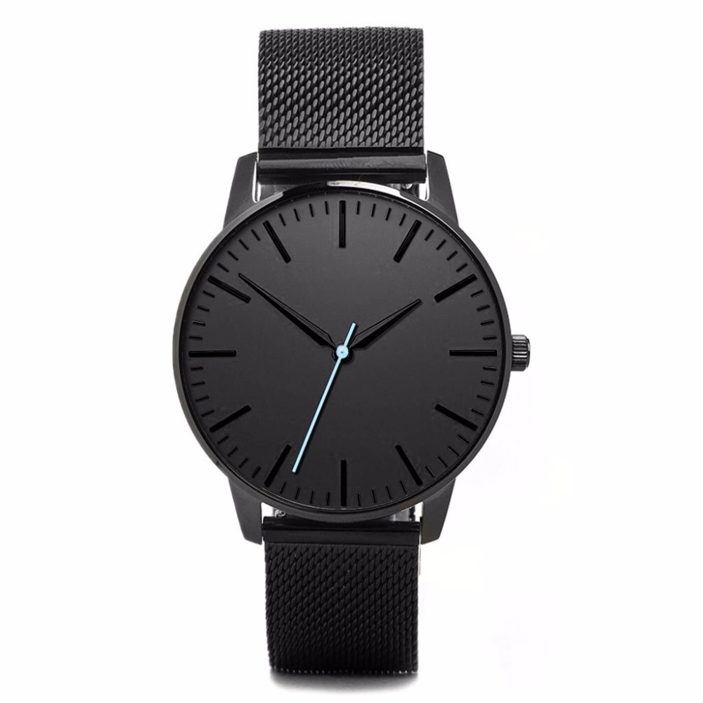 All black men luxury quartz japan movt stainless steel back private label watch