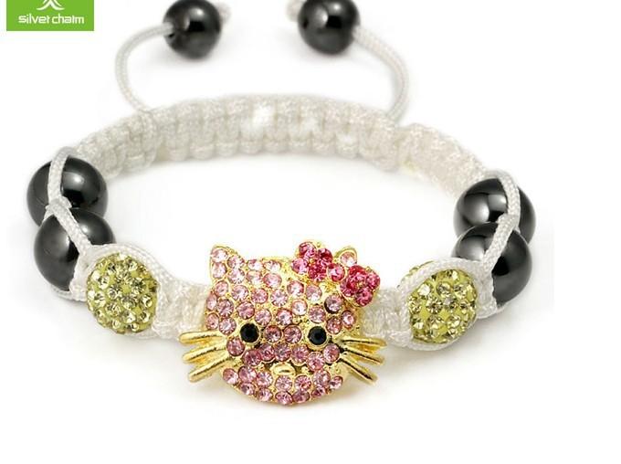 b45a8104b Get Quotations · 2012 New Arrival Hello Kitty Shamballa Bracelet for Girls  Many Colors Shambala Jewelry in Bulk Christmas