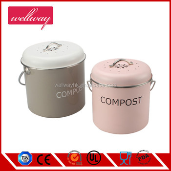 cute stainless steel kitchen table compost caddy pail