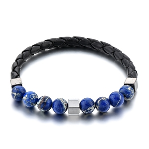 Wholesales 8mm Lapis Lazuli Beads Braided Leather Rope Bracelets,Blue Natural Stone Beads Square Hematite Metal Leather Cuff Bra