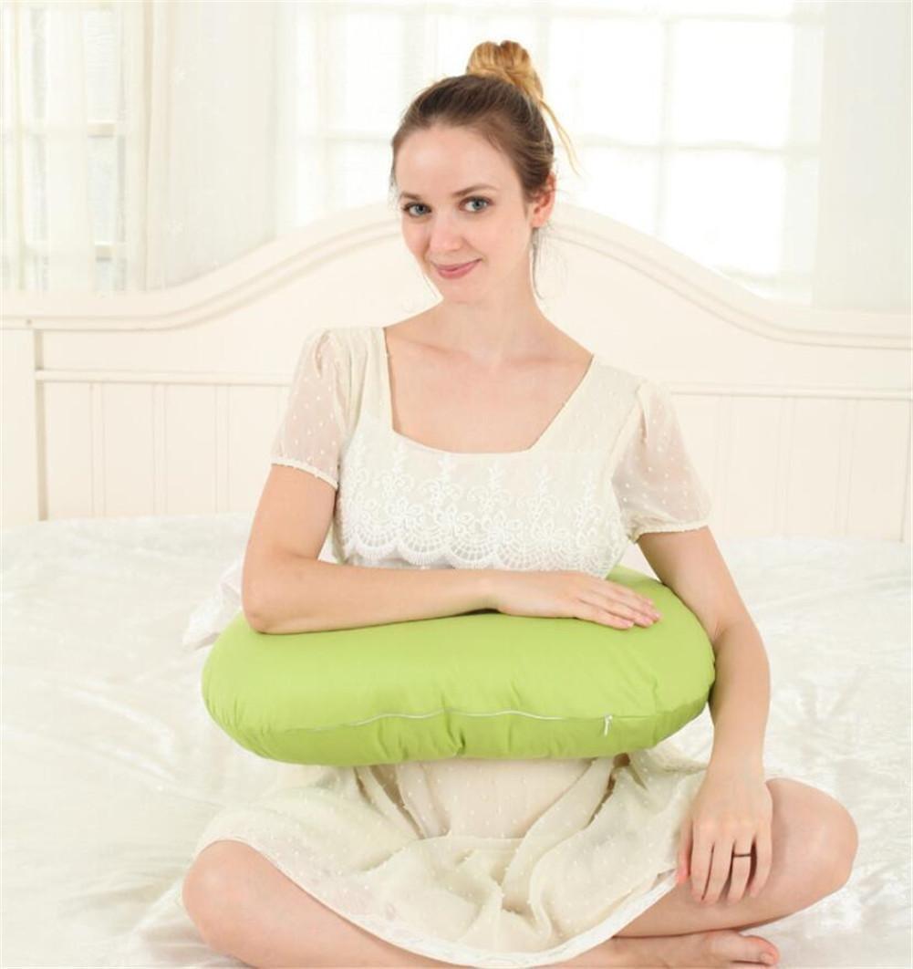 DU&HL Nursing Pillow Maternity Pillow Cotton Nursing Cushion One Hand Breastfeeding Baby Pillow, Green