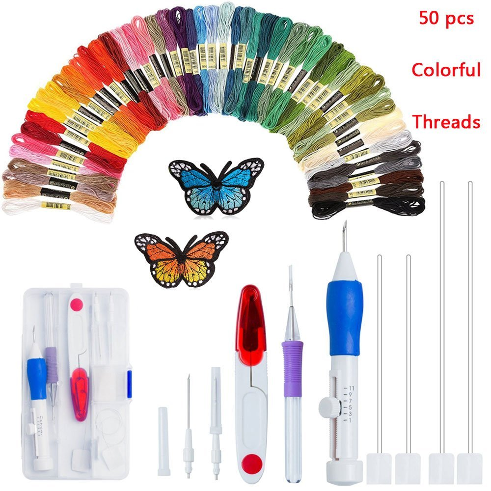 Magic Embroidery Pen Stitching Punch Needles DIY Cross Stitch Floss Threads Kits