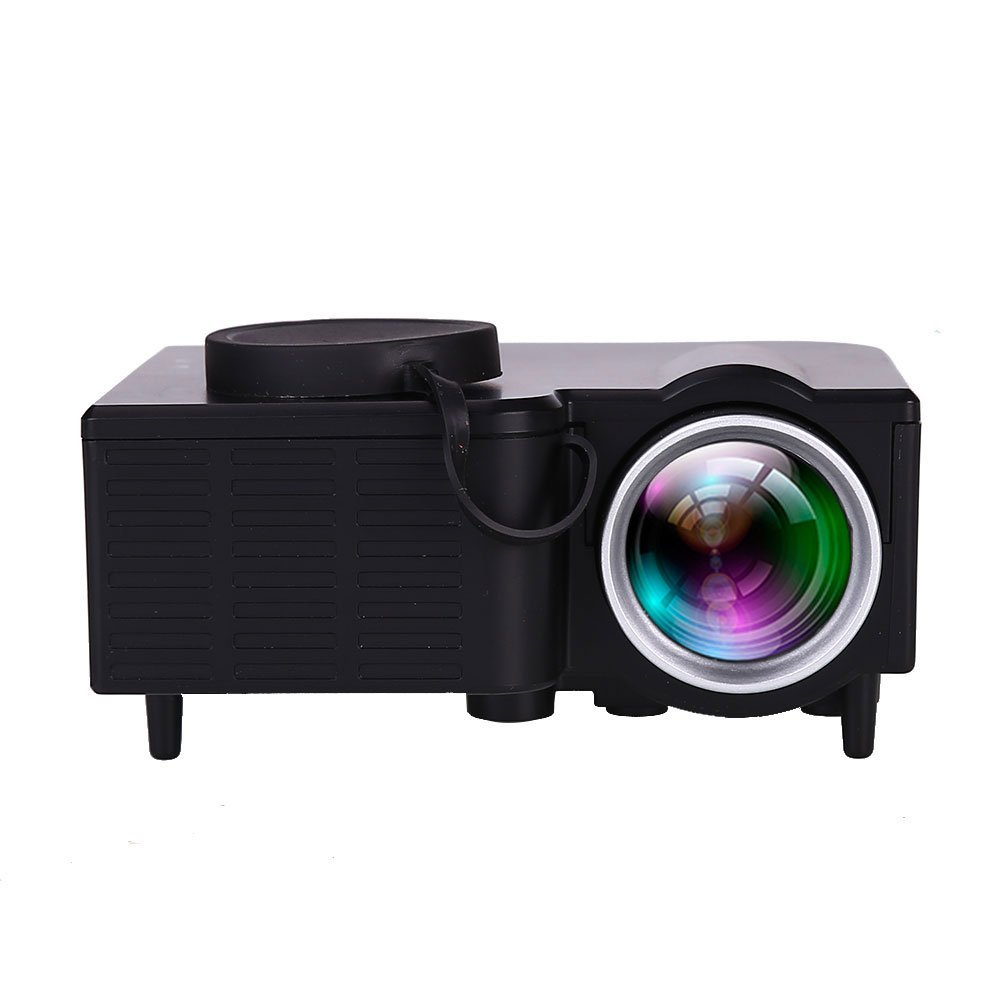 Auntwhale Portable 1080P HD LED LCD Multimedia Video Projector Home Theater Projector AV USB HDMI- Projection Size: 10-60 Inches - Product Size: 9.4× 8.2× 4.2CM - Black