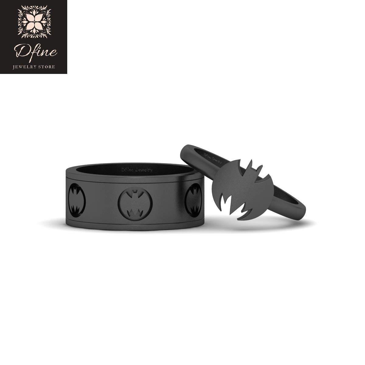 Fantasy Superhero Batman Inspired Matching Couple Ring Band Set Solid 18k Gun Metal Gold Batman Ring