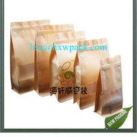 Custom Printed Square Bottom Food Grade pouch Resealable Stand Up Ziplock Pouch bag with window