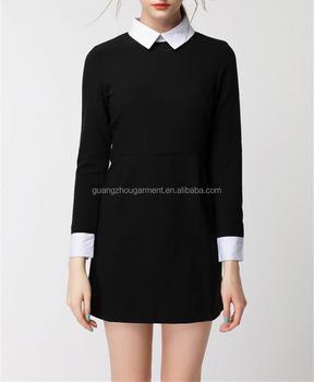 3e247dbecc3 2015 nouvelles femmes mode robe moulante automne hiver robe noire col blanc  décontracté bureau à manches