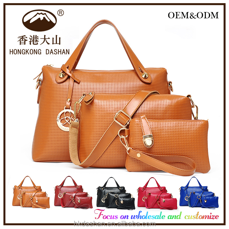 Online shop alibaba china factory suppliers lady clear hand bags women bags handbags set 6 pcs ladies 2016